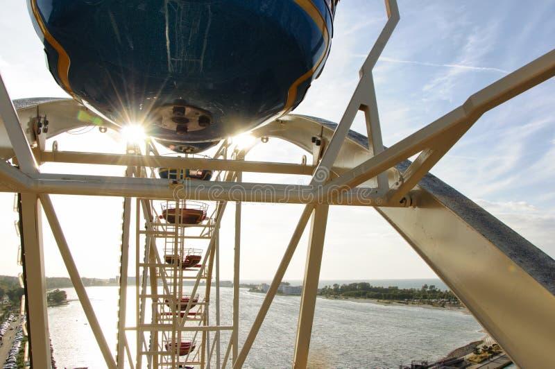 在天空蔚蓝前面的巨型轮子 库存图片