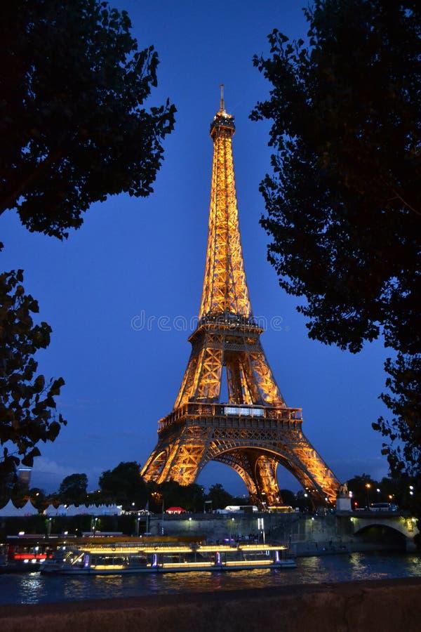 在天空蔚蓝的夜之前照亮的埃菲尔铁塔 免版税图库摄影