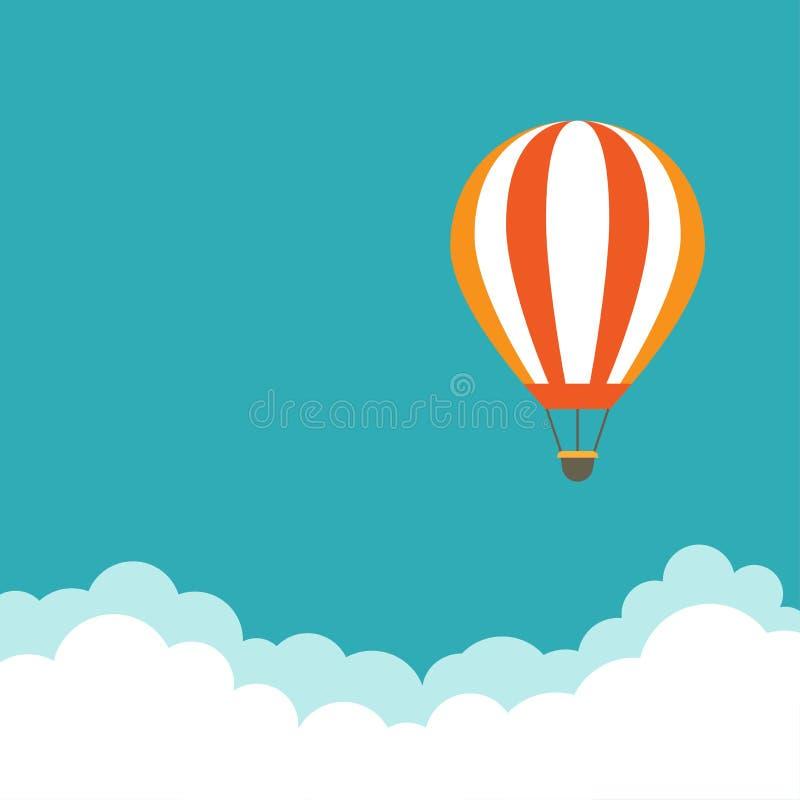 在天空蔚蓝的橙色热空气气球飞行与云彩 平的动画片背景 向量例证
