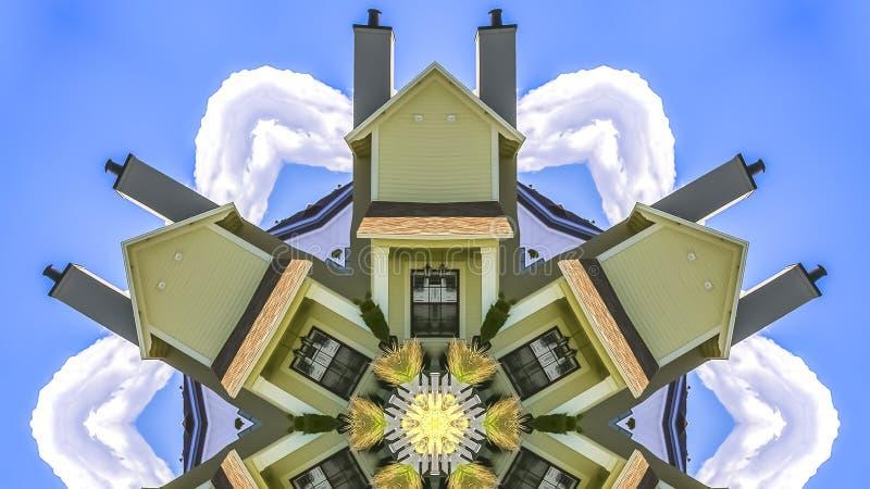 在天空蔚蓝窗口和烟囱前面的全景议院 向量例证
