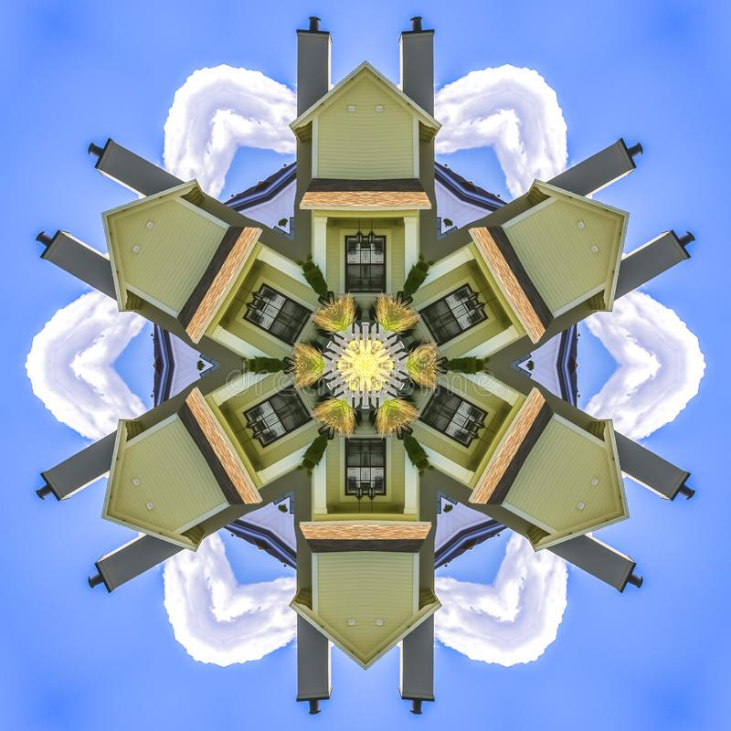 在天空蔚蓝窗口和烟囱前面的议院 皇族释放例证