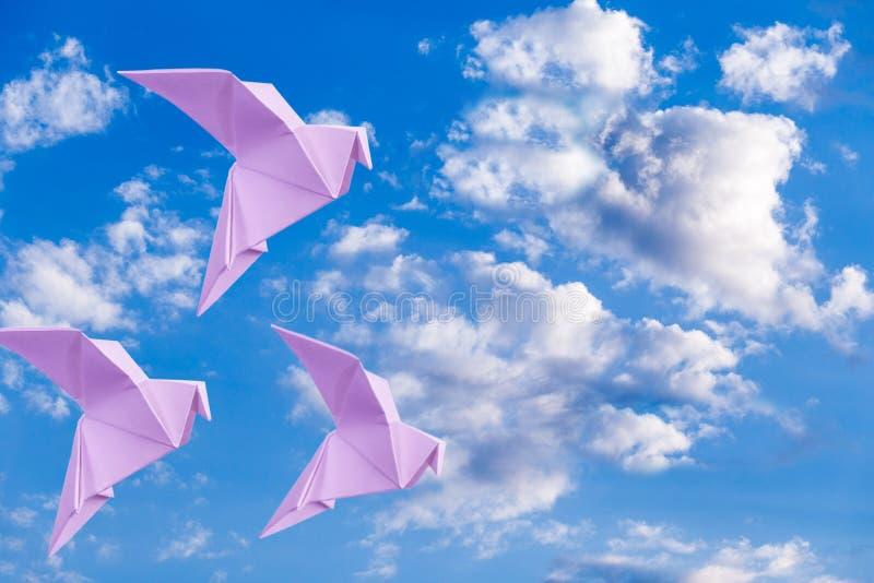 在天空蔚蓝背景的纸鸠 库存图片