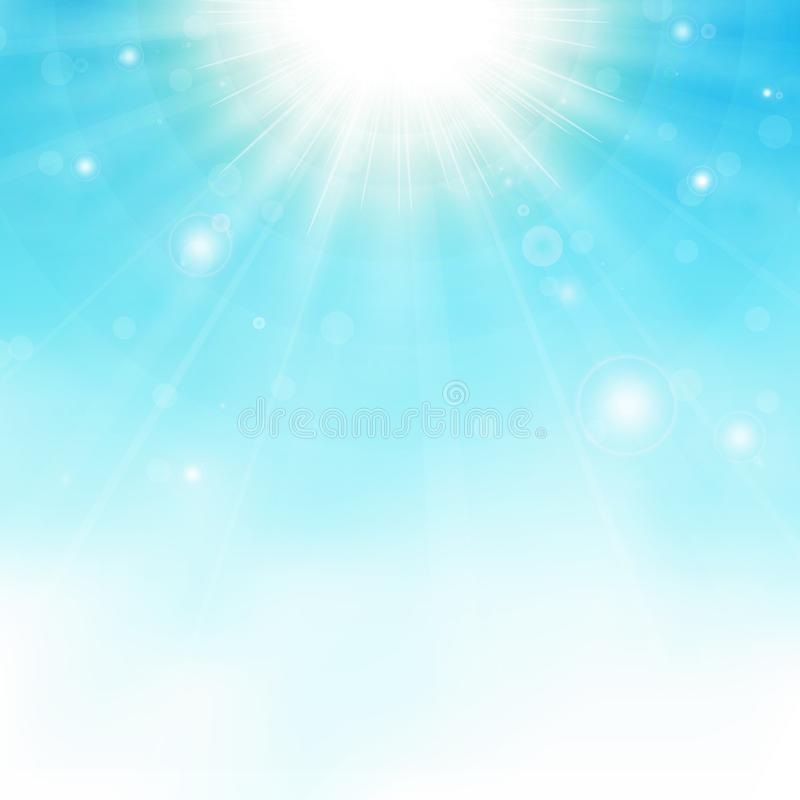 在天空蔚蓝背景的镶有钻石的旭日形首饰的中心 向量例证
