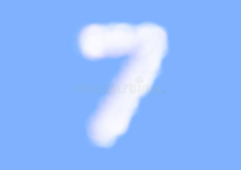 在天空蔚蓝背景,美好的空气云彩字体,第7或七的印刷术的辅音现实白色云彩传染媒介 皇族释放例证