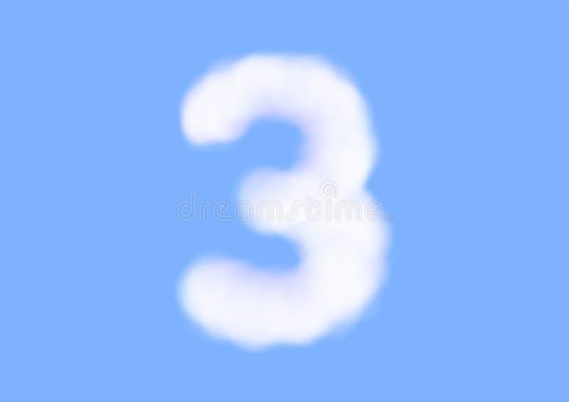在天空蔚蓝背景,美好的空气云彩字体,第3或三的印刷术的辅音现实白色云彩传染媒介 库存例证
