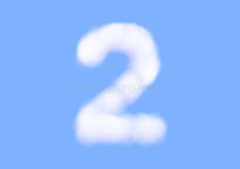在天空蔚蓝背景,美好的空气云彩字体,第2或两的印刷术的辅音现实白色云彩传染媒介 库存例证