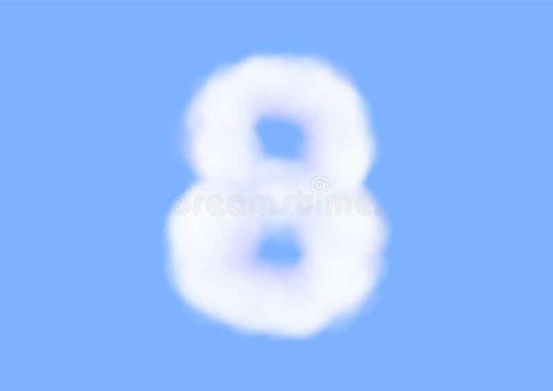 在天空蔚蓝背景,美好的空气云彩字体,第8或八的印刷术的辅音现实白色云彩传染媒介 向量例证