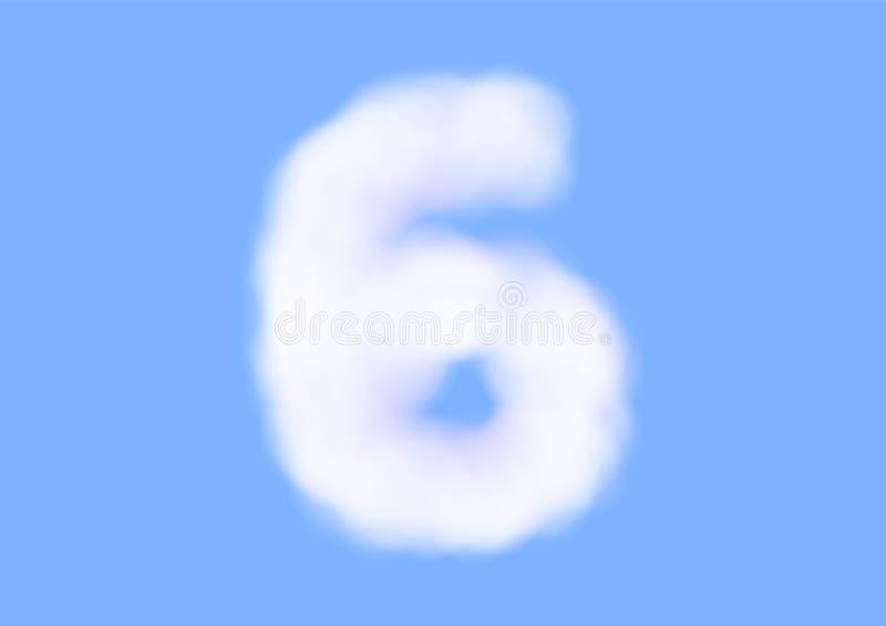 在天空蔚蓝背景,美好的空气云彩字体,第6或六的印刷术的辅音现实白色云彩传染媒介 库存例证