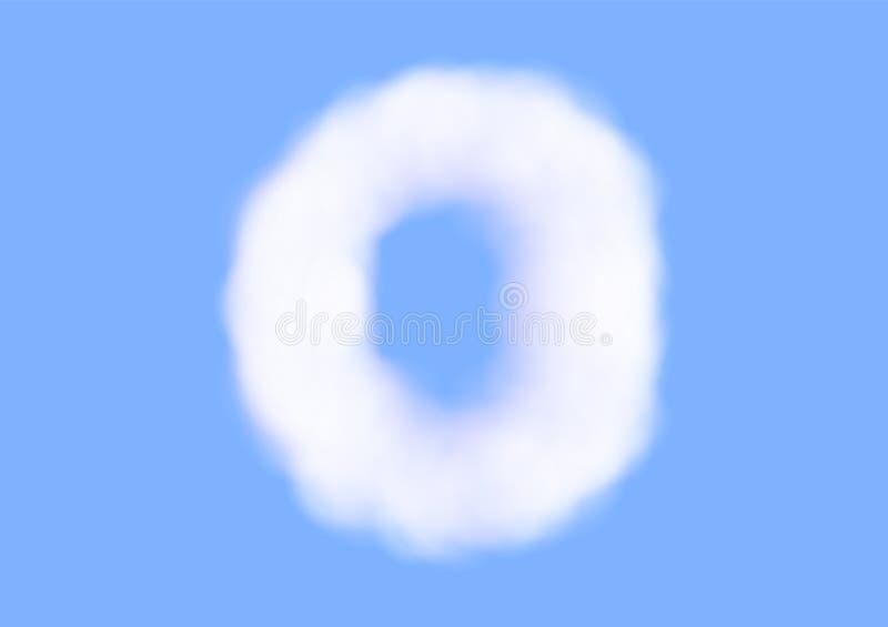 在天空蔚蓝背景,美好的空气云彩字体,第0或零的印刷术的辅音现实白色云彩传染媒介 向量例证