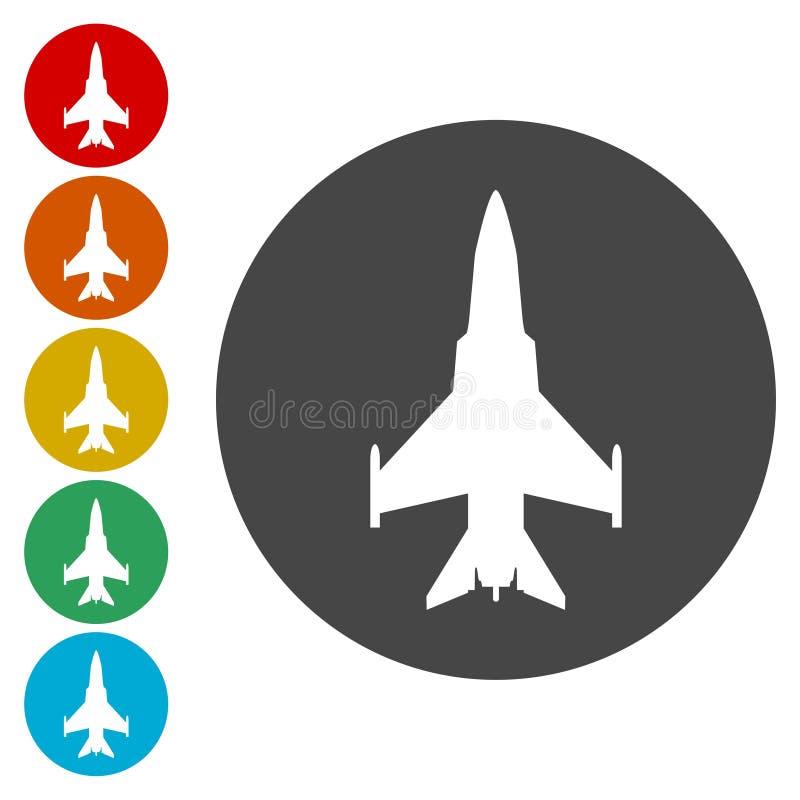 在天空象的军用飞机 向量例证