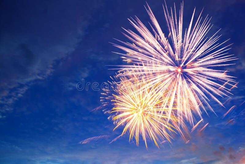 在天空,一个欢乐展示的烟花 免版税库存照片
