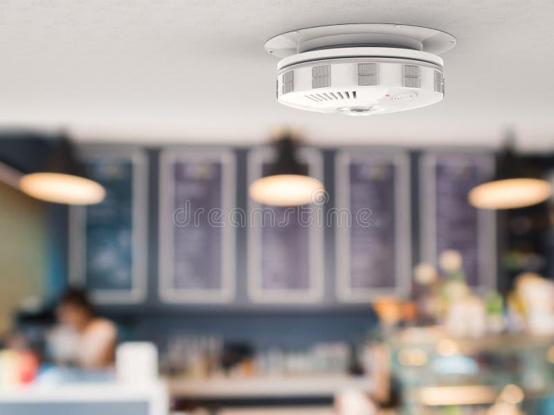 在天花板的烟检测器 向量例证