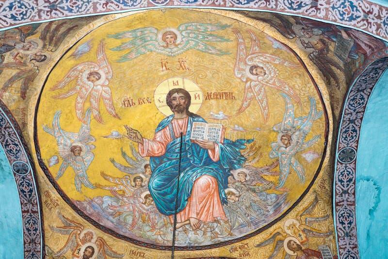在天花板的绘画在阁下的变貌的教会里保加利亚语的波摩莱 库存图片
