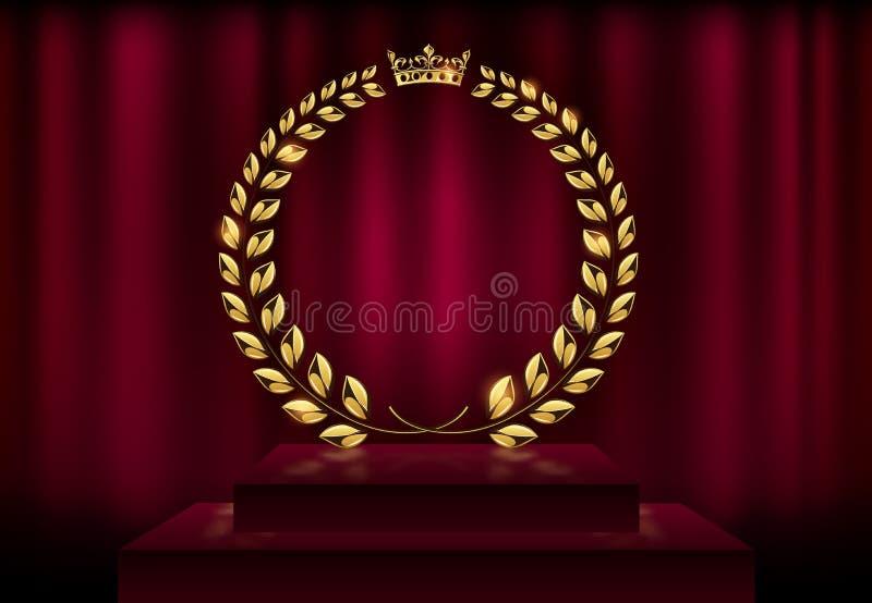 在天鹅绒红色帷幕背景和阶段指挥台的详细的圆的金黄月桂树花圈冠奖 金环锭细纱机商标 胜利 皇族释放例证