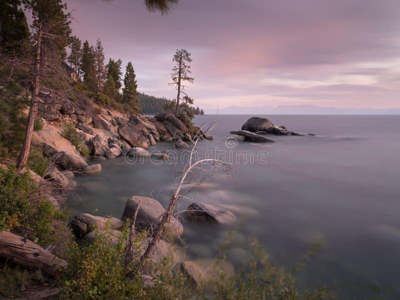 在太浩湖,美国的日落 免版税库存照片