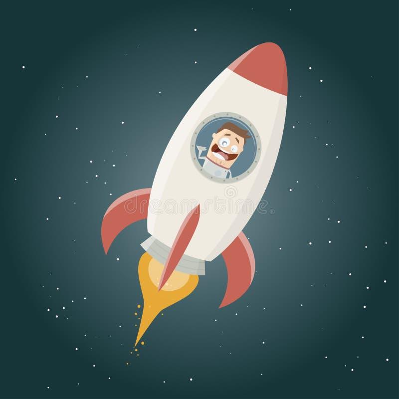 在太空火箭的滑稽的宇航员飞行 向量例证