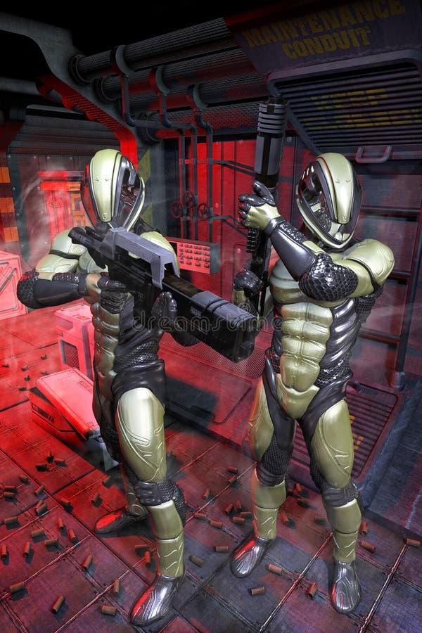 在太空飞船里面的未来派战士 向量例证
