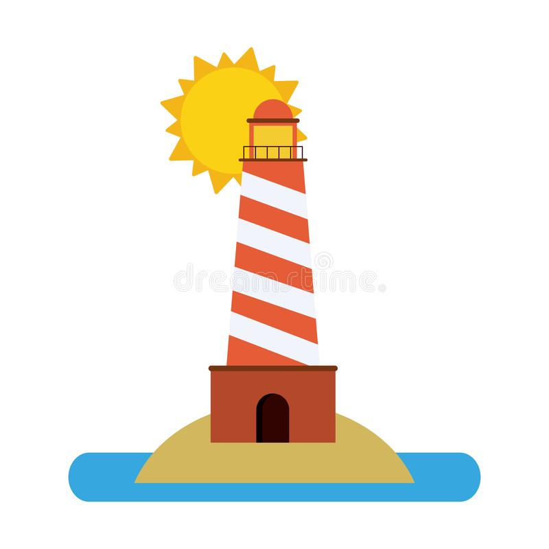 在太阳下的灯塔 库存例证