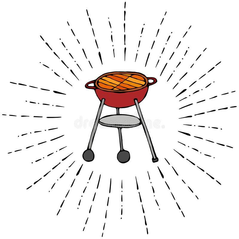 在太阳光芒的BBQ格栅夏天党菜单的 背景查出的白色 现实乱画动画片样式手拉的剪影Vect 库存例证