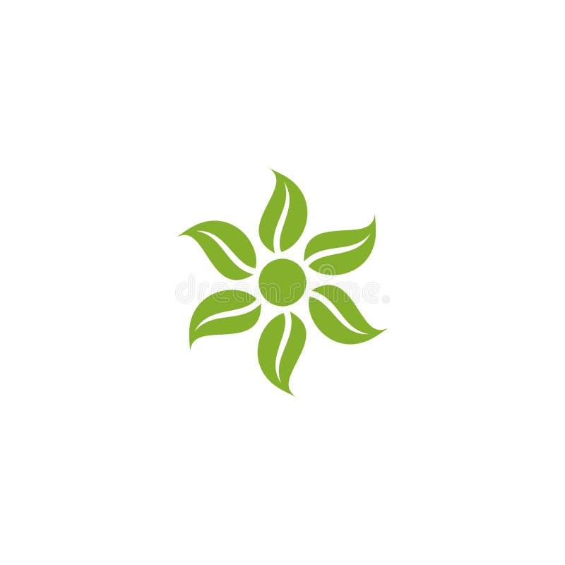 在太阳商标附近的6片叶子 库存例证