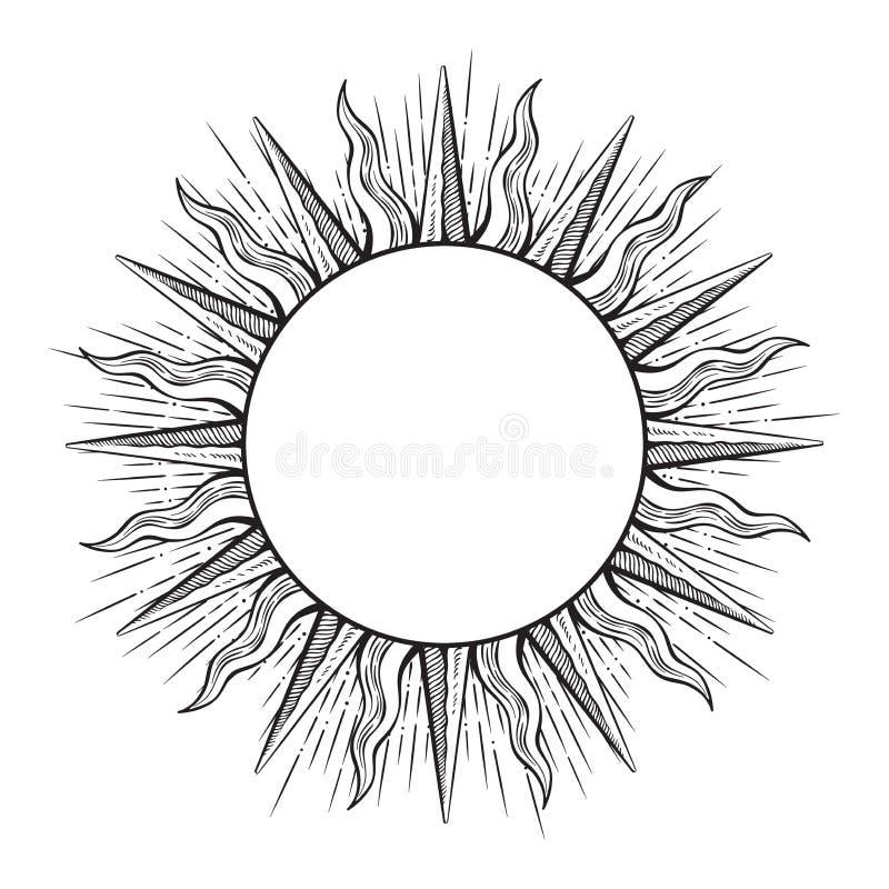 在太阳形状的手拉的蚀刻样式框架发出光线传染媒介例证 库存例证