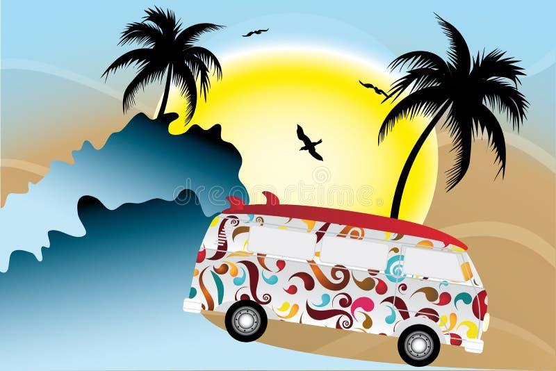 在太阳的五颜六色的搬运车下的假日有在棕榈下的冲浪板的在海滩 向量例证