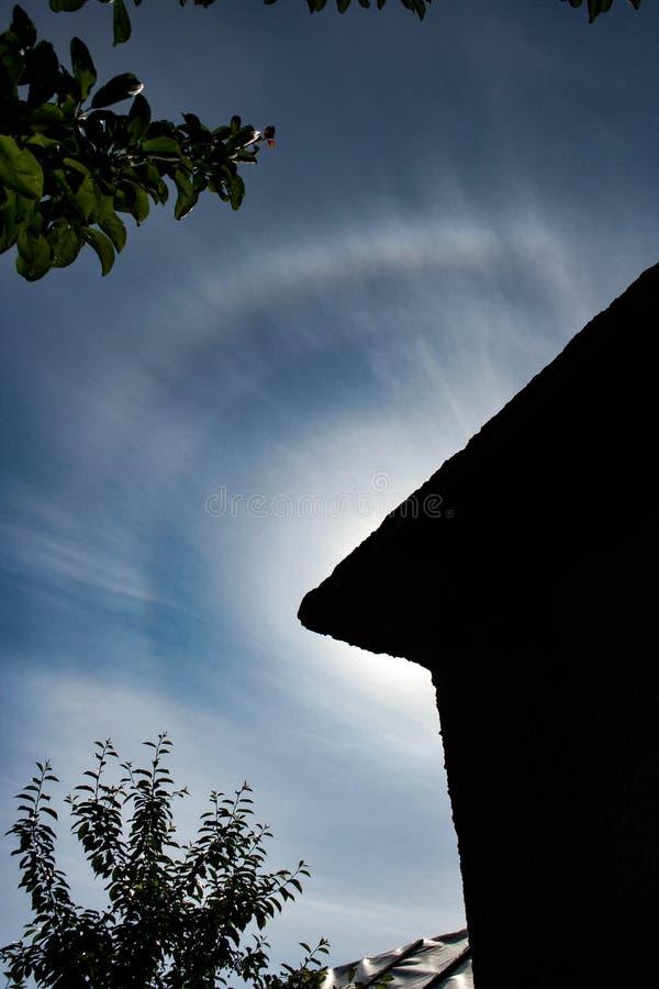 在太阳附近的五颜六色的圆光晕 图库摄影