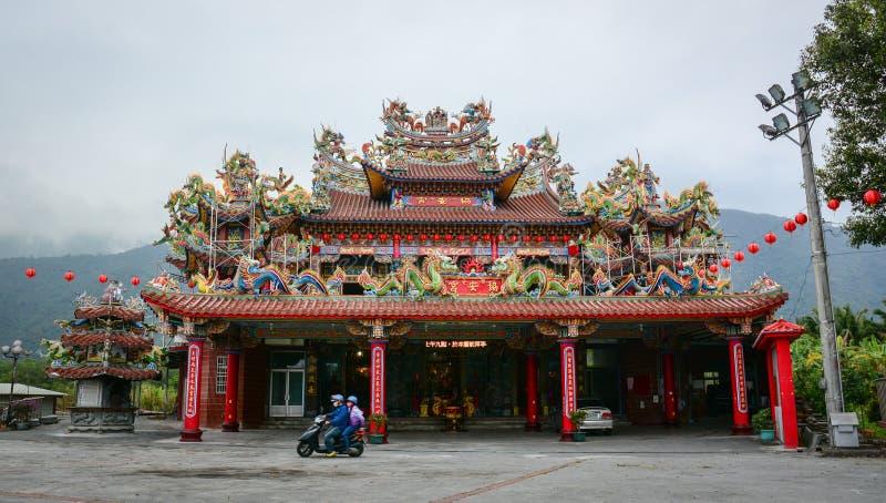 在太鲁阁国家公园的中国寺庙,花莲,台湾 免版税图库摄影