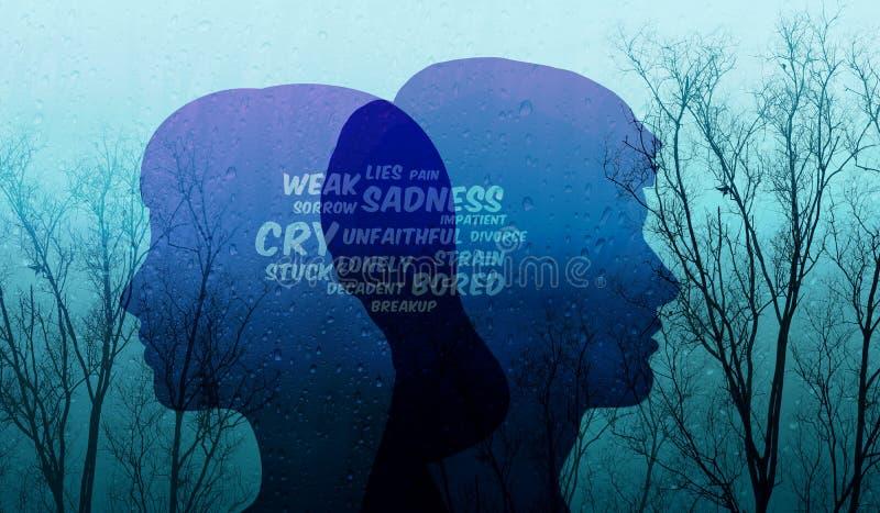 在夫妇概念的哀伤的关系,当前由沮丧的字词 库存照片