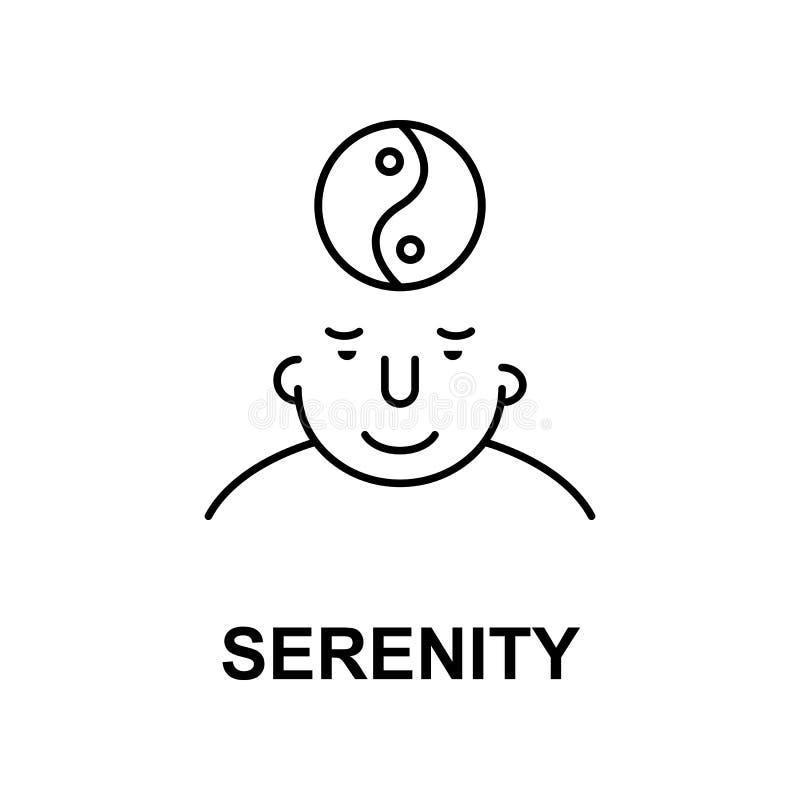 在头脑象的平静 人脑象的元素流动概念和网apps的 在头脑象的稀薄的线平静可以使用为 库存例证