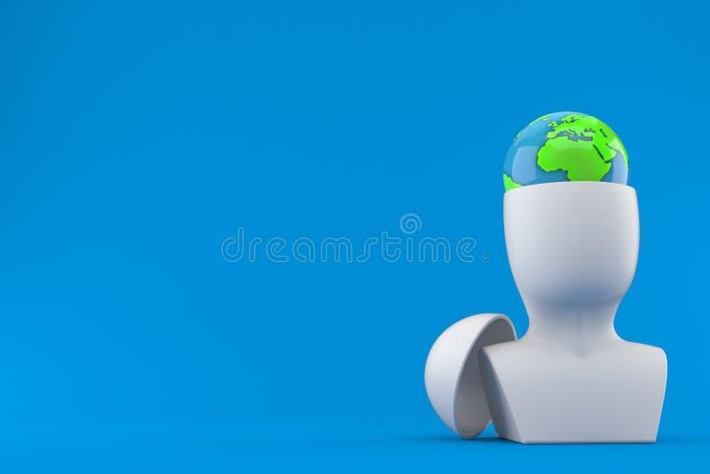 在头里面的世界地球 向量例证