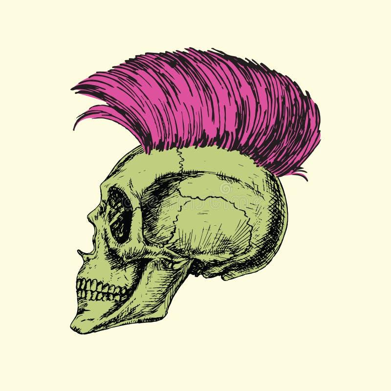 在头骨外形,手拉的乱画,在木刻样式的剪影的防堤易洛魁族的类型 皇族释放例证