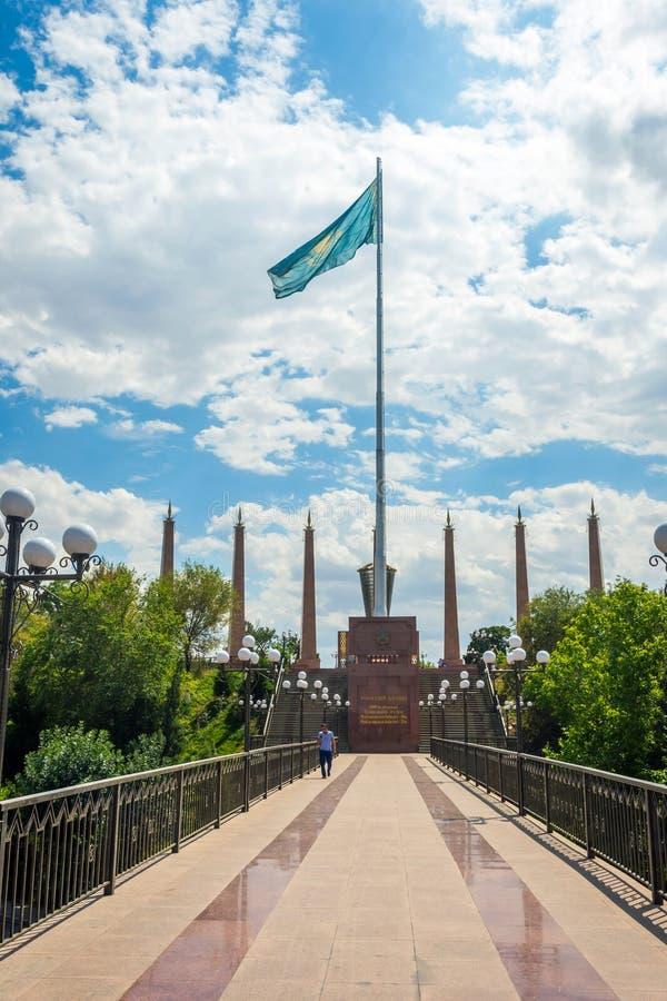 在奇姆肯特独立公园,哈萨克斯坦的看法 免版税库存照片