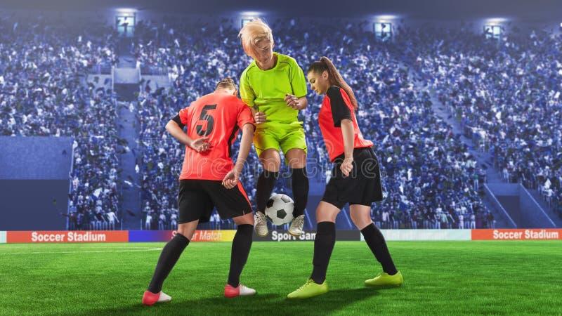 在奋斗的三位女性足球运动员为球期间 免版税库存照片