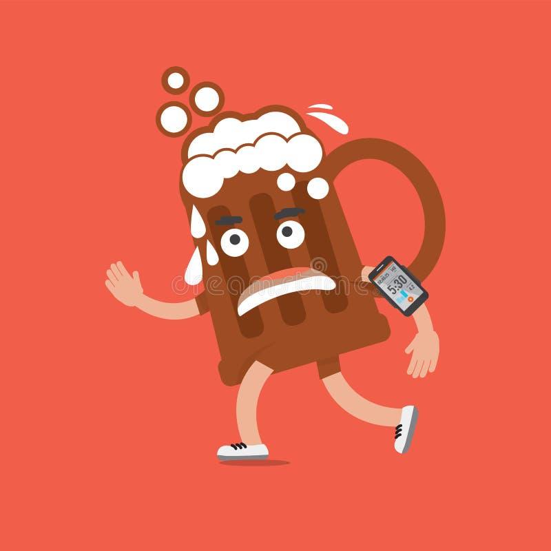 在奔跑的啤酒与智能手机健康概念漫画人物 库存例证