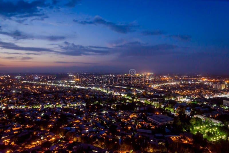 在奥什,吉尔吉斯斯坦的夜视图 免版税库存图片
