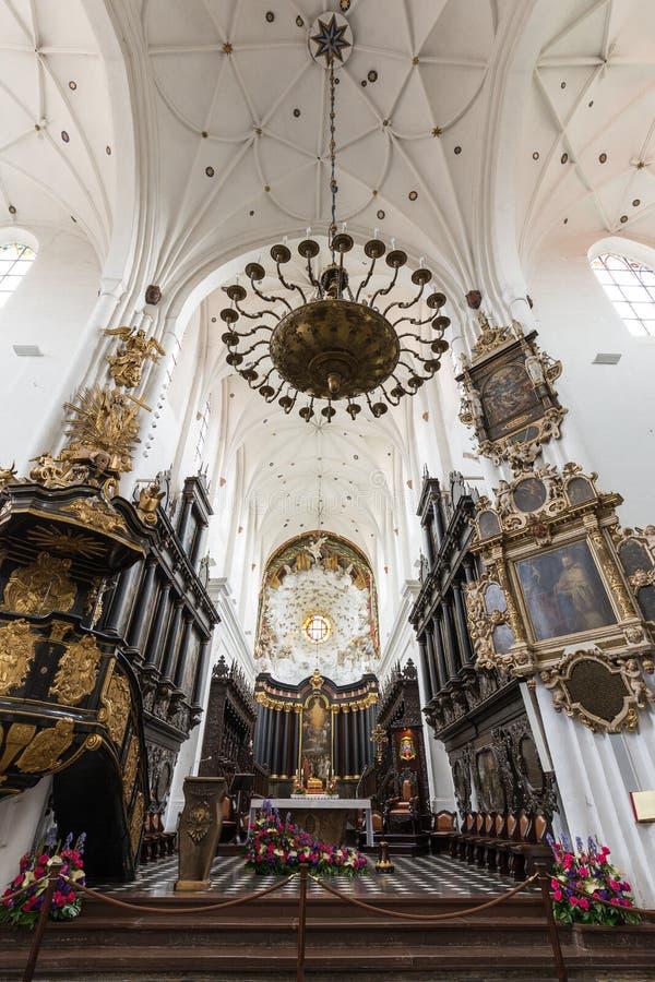 在奥利瓦大教堂里面在格但斯克 免版税库存图片
