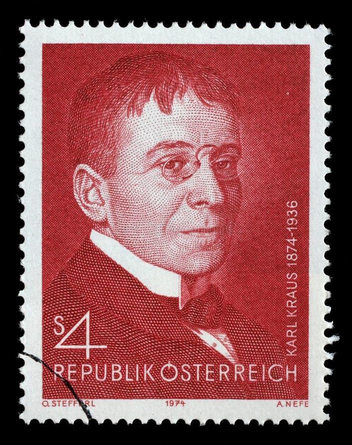 在奥地利打印的邮票显示卡尔・克劳斯 图库摄影