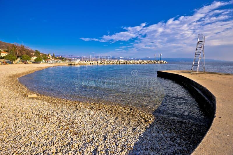 在奥帕蒂亚海滩视图的Lungomare著名江边走道 免版税库存照片