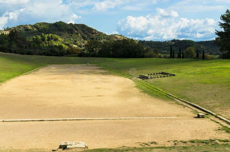 在奥林匹亚的古老经典希腊语奥林匹克体育场在希腊 库存照片