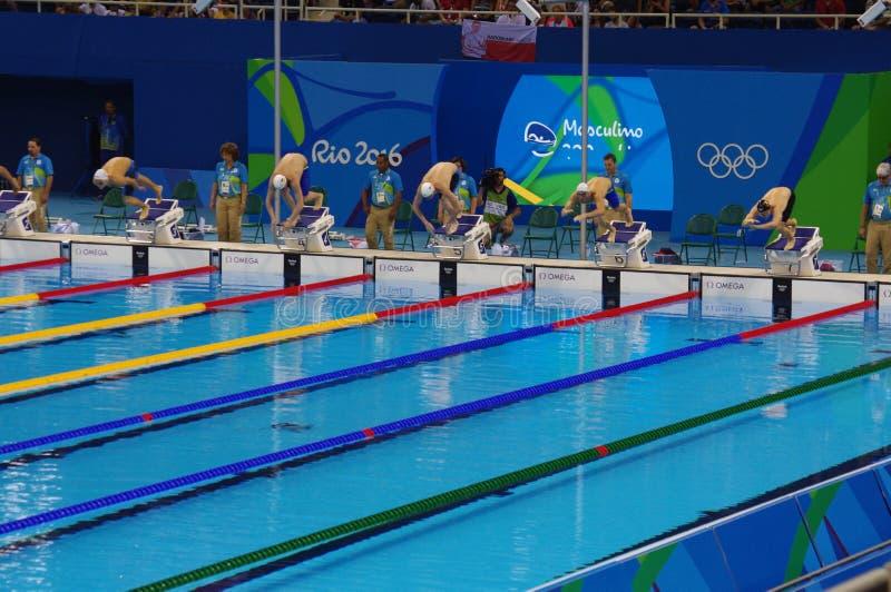 在奥林匹克水上体育场的游泳池 图库摄影