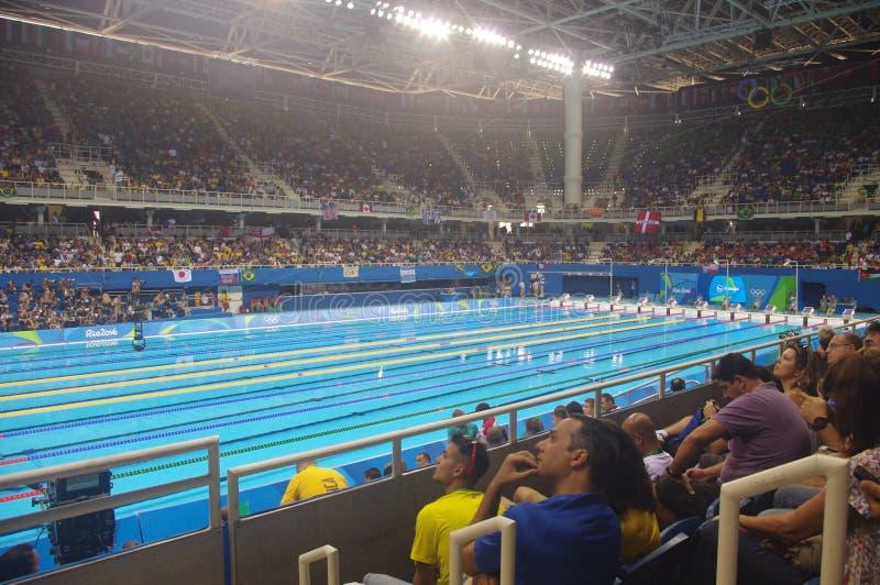 在奥林匹克水上体育场的游泳池 免版税库存照片