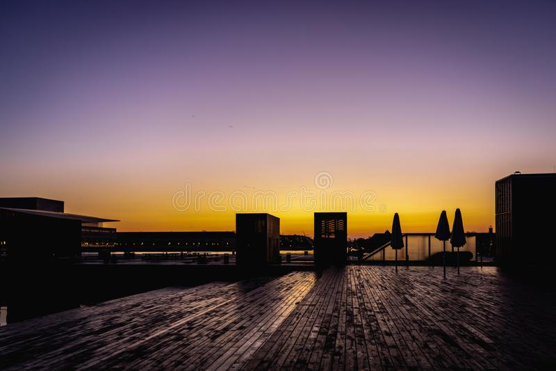 在奥菲莉亚Plads的黎明在哥本哈根 免版税库存照片
