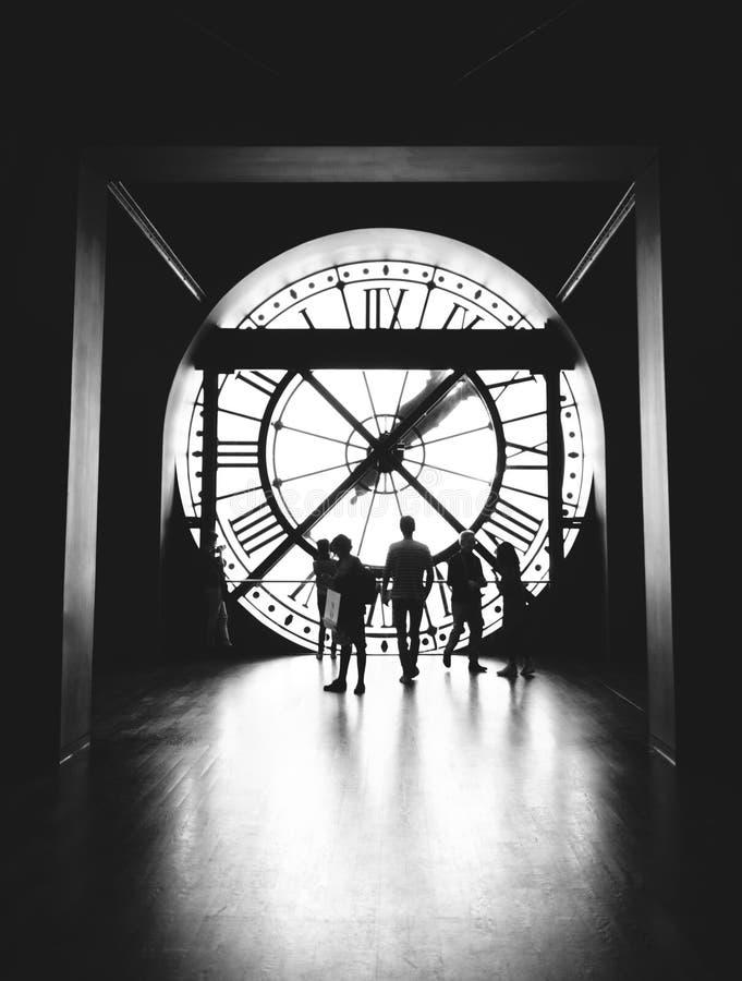 在奥赛博物馆的驻地时钟 免版税库存图片