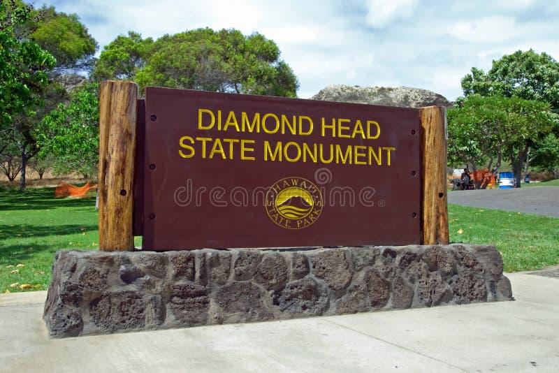 在奥阿胡岛山楂的金刚石顶头状态纪念碑公园标志关闭檀香山 库存照片