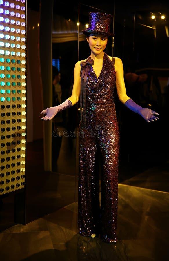 在女士tussauds的著名香港电影明星凯利陈蜡雕象在香港 库存照片