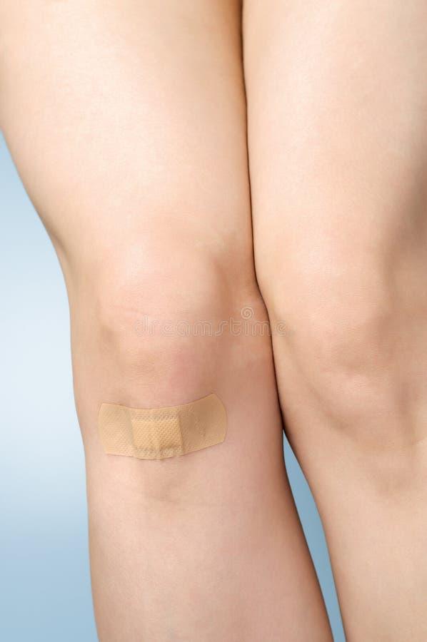 在女性腿的膏药 免版税图库摄影