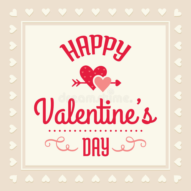 在奶油和红色的愉快的情人节卡片 向量例证