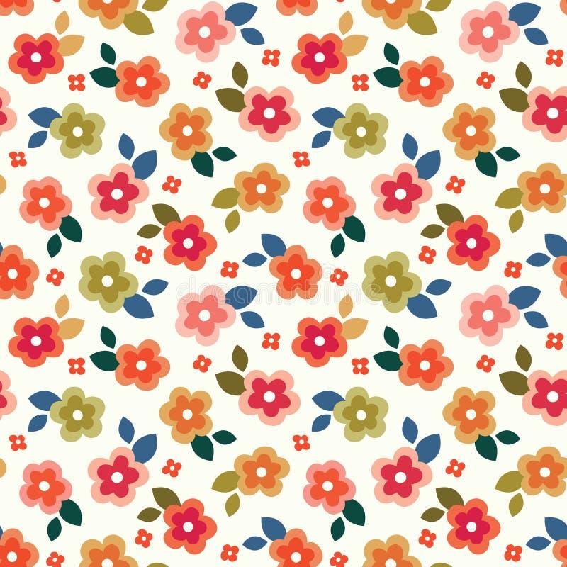 在奶油色背景的五颜六色的无缝的花卉微型印刷品 皇族释放例证