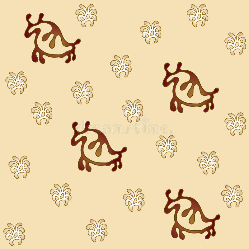 在奶油色领域,摇滚绘画样式的北美野牛 向量例证